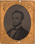 Political:Ferrotypes / Photo Badges (pre-1896), Abraham Lincoln: Oversize Ferrotype Badge....