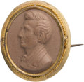 Political:Ribbons & Badges, Abraham Lincoln: Composition or Lava Portrait Brooch....