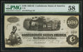 Confederate Notes:1862 Issues, T40 $100 1862 PF-20 Cr. 308....