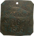 Antiques:Black Americana, 1826 Charleston SERVANT Slave Hire Badge, Number 1677....