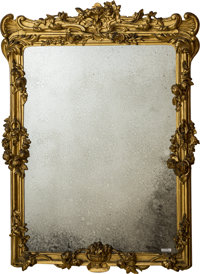 An English Rococo Revival Giltwood Mirror, mid-19th century 47-1/2 h x 35-1/2 w x 3-1/2 d inches (120.7 x 90.2 x 8