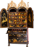 Furniture , A Fine George II Japanned and Partial Gilt Wooden Secretary, 18th century. 87 h x 40-3/4 w x 21-1/2 d inches (221.0 x 103.5 ...
