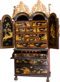 A Fine George II Japanned and Partial Gilt Wooden Secretary, 18th century 87 h x 40-3/4 w x 21-1/2 d inches (221.0