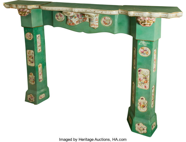 Ceramics & Porcelain, A Very Rare Early Victorian Chinoiserie Ironstone Fireplac...