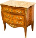 Furniture , A Louis XV-Style Gilt Bronze Mounted Parquetry Commode with Scagliola Marble Top, early 20th century. 33 h x 32 w x 21 d inc...