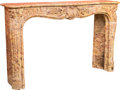 Furniture , A Large Louis XV-Style Carved Breche d'Alep Marble Fireplace, 19th century. 48 h x 77-1/4 w x 15-3/4 d inches (121.9 x 196.2...