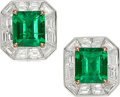 Estate Jewelry:Earrings, Colombian Emerald, Diamond, Platinum, Gold Earrings, Tiffany & Co.. ... (Total: 2 Items)