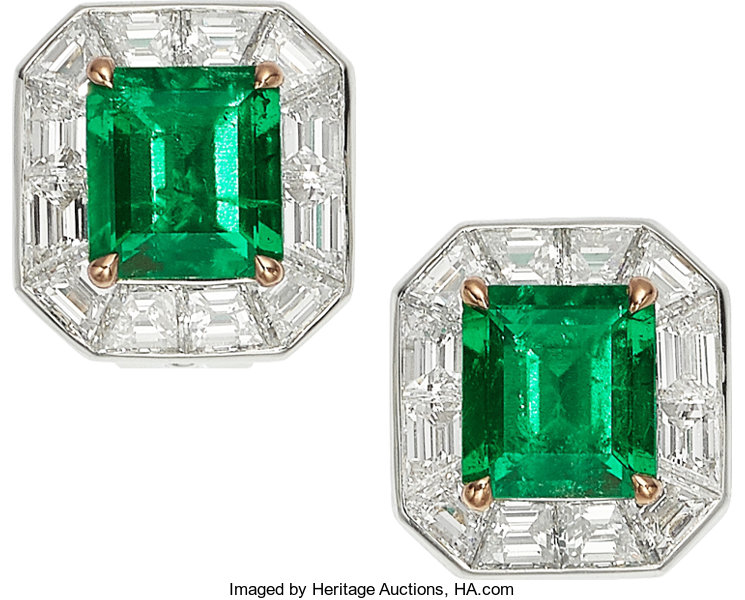 Estate Jewelry Earrings Colombian Emerald Diamond Platinum Gold Tiffany