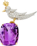 Estate Jewelry:Brooches - Pins, Amethyst, Diamond, Platinum, Gold Brooch, Jean Schlumberger forTiffany & Co.. ...