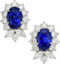 Estate Jewelry:Earrings, Sapphire, Diamond, Platinum Earrings, Tiffany & Co.. ...(Total: 2 Items)