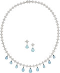 Estate Jewelry:Suites, Aquamarine, Diamond, Platinum Jewelry Suite, Tiffany & Co.. ... (Total: 3 Items)