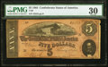 Confederate Notes:1864 Issues, T69 $5 1864 PF-5 Cr. 560....