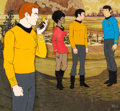 Animation Art:Production Cel, Star Trek Captain Kirk and Crew Production Cel Setup(Filmation, 1973/74)....