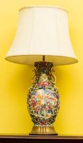 Asian:China Trade, A Chinese Export Porcelain Vase Mounted as a Lamp. 31 inches high(78.7 cm). ...
