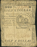 Continental Currency February 17, 1776 $1/2 Very Good