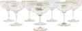 Art Glass:Other , Eight Partial Gilt Glass Champagne Coupes, mid-20th century. 7 h x5-1/4 di inches (17.8 x 13.3 cm). ... (Total: 8 Items)