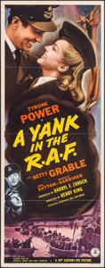 "Movie Posters:War, A Yank in the R.A.F. (20th Century Fox, 1941). Insert (14"" X 36"").War.. ..."