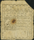 Colonial Notes, Connecticut October 11, 1777 7d Good, Slit Cancelled.. ...