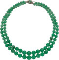 Estate Jewelry:Necklaces, Jadeite Jade, Diamond, White Gold Necklace. ...