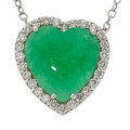 Estate Jewelry:Necklaces, Jadeite Jade, Diamond, White Gold Pendant-Necklace. ...