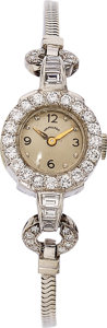 Estate Jewelry:Watches, Hamilton Lady's Diamond, Platinum, White Gold Watch. ...