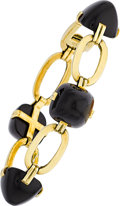 Estate Jewelry:Bracelets, Black Onyx, Gold Bracelet. . ...