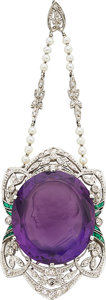 Estate Jewelry:Pendants and Lockets, Art Deco Amethyst, Diamond, Emerald, Seed Pearl, White Gold Pendant. ...