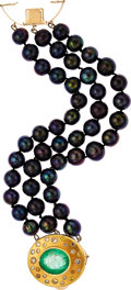 Estate Jewelry:Bracelets, Black South Sea Cultured Pearl, Emerald, Colored Diamond, Diamond,Gold Bracelet. ...