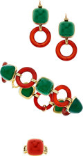 Estate Jewelry:Suites, Chrysoprase, Carnelian, Gold Jewelry Suite. ... (Total: 3 Items)