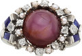 Estate Jewelry:Rings, Star Ruby, Diamond, Synthetic Sapphire, Seed Pearl, White Gold Ring. ...