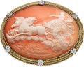 Estate Jewelry:Brooches - Pins, Shell Cameo, Diamond, Gold Brooch. ...