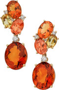 Estate Jewelry:Earrings, Citrine, Diamond, Gold Earrings. ...
