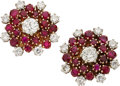 Estate Jewelry:Earrings, Diamond, Ruby, Gold Earrings. . ... (Total: 2 Items)
