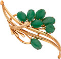 Estate Jewelry:Brooches - Pins, Jadeite Jade, Gold Brooch. ...