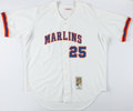 Baseball Collectibles:Uniforms, 2002 Derrek Lee Game Worn Florida Marlins Jersey, MEARS A10....