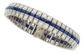 Estate Jewelry:Bracelets, Art Deco Diamond, Synthetic Sapphire, Platinum Bracelet. ...