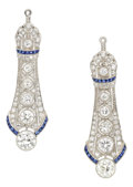 Estate Jewelry:Earrings, Art Deco Diamond, Synthetic Sapphire, Platinum Ear Pendants. ...(Total: 2 Items)