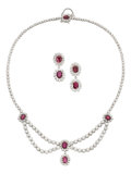 Estate Jewelry:Suites, Ruby, Diamond, White Gold Jewelry Suite. ... (Total: 3 Items)