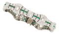 Estate Jewelry:Bracelets, Art Deco Diamond, Emerald, Synthetic Emerald, Platinum Bracelet....
