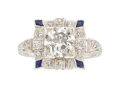 Estate Jewelry:Rings, Art Deco Diamond, Synthetic Sapphire, Platinum Ring. ...