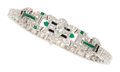 Estate Jewelry:Bracelets, Art Deco Diamond, Emerald, Black Onyx, Platinum Bracelet. ...