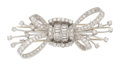 Estate Jewelry:Brooches - Pins, Diamond, Platinum, Double-Clip-Brooch. ...