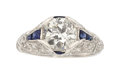 Estate Jewelry:Rings, Art Deco, Diamond, Synthetic Sapphire, Platinum Ring. ...