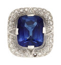 Estate Jewelry:Rings, Synthetic Sapphire, Diamond, Platinum Ring. ...