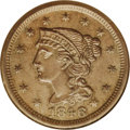 1846 1C Small Date. N-8, R.1. MS64 Brown NGC. AU58 EAC. Grellman state b. Obverse and reverse die lines are dull and nea...