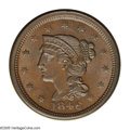 1846 1C Small Date. N-17, R.5. MS64 Brown NGC. AU58 EAC. Grellman state b. Brown with a trace of mint red and smooth, lu...