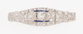 Estate Jewelry:Brooches - Pins, Art Deco Diamond, Synthetic Sapphire, Platinum Brooch . ...