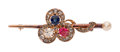 Estate Jewelry:Brooches - Pins, Antique Diamond, Sapphire, Spinel, Cultured Pearl, Gold Brooch . ...