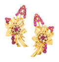 Estate Jewelry:Earrings, Retro Ruby, Diamond, Gold Earrings. ... (Total: 2 Items)
