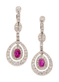 Estate Jewelry:Earrings, Art Deco Diamond, Ruby, Platinum, White Gold Earrings. ... (Total:2 Items)